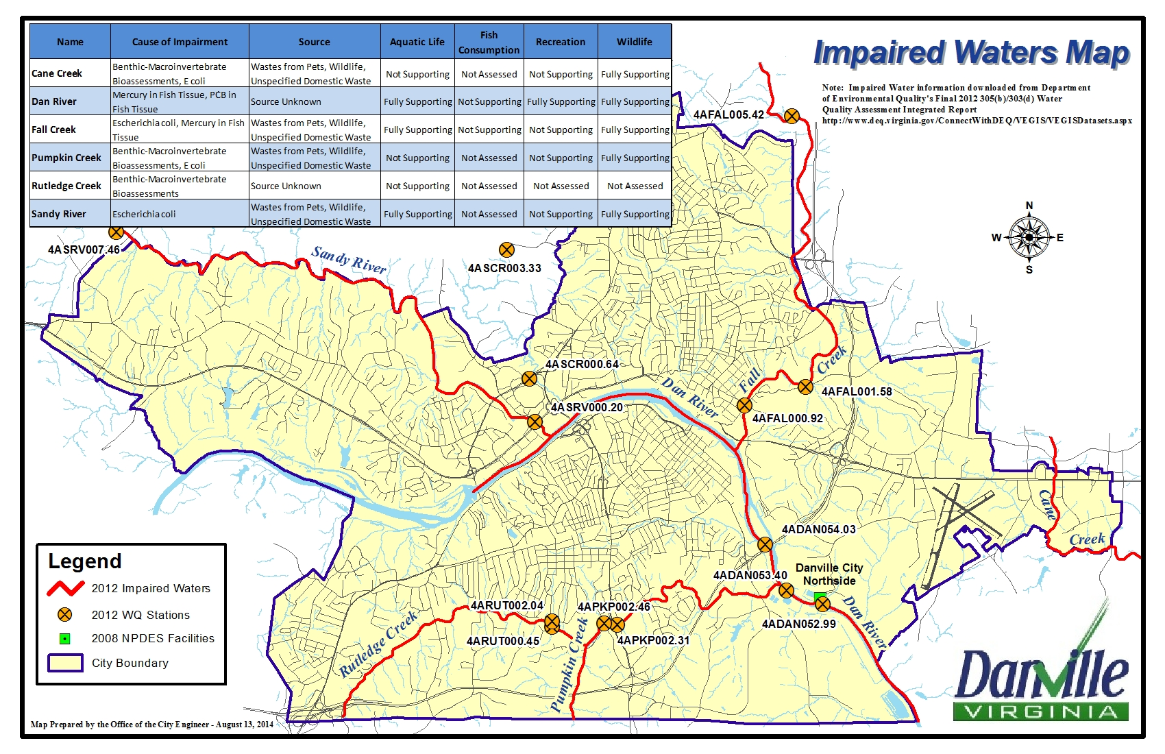 map of impaired water in the Danville area