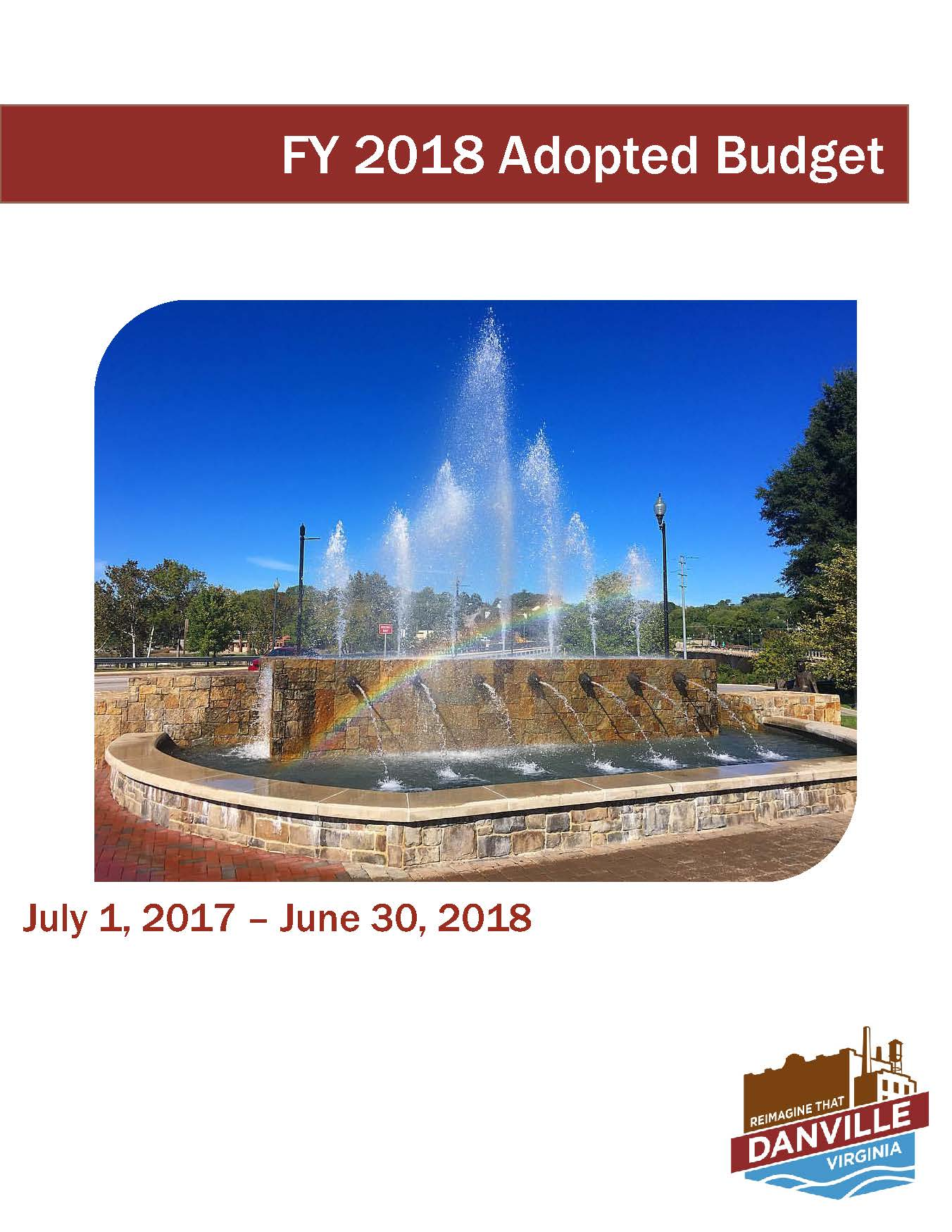 2018 City of Danville Budget Cover