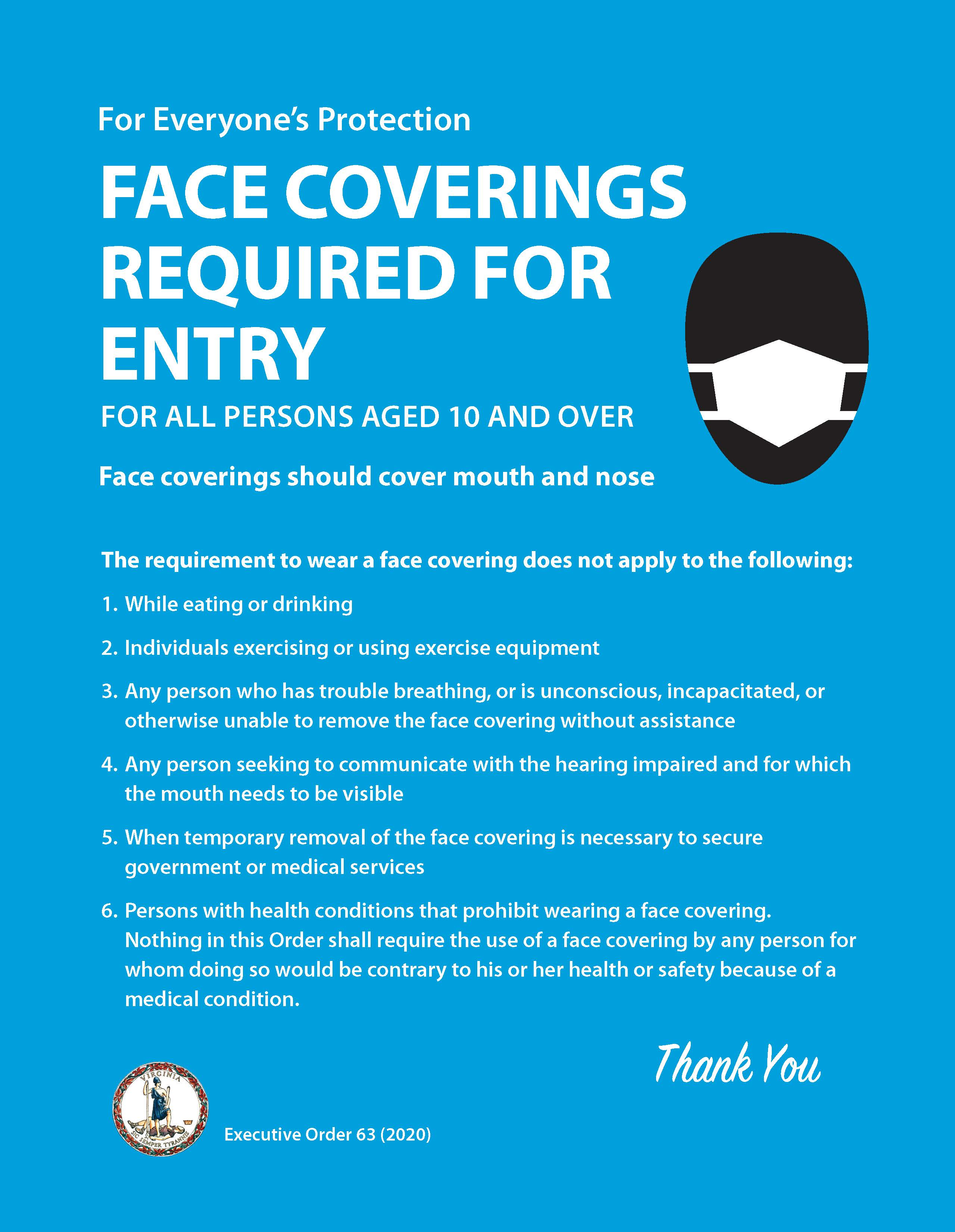 Infographic on Executive Order 63 on Face Coverings