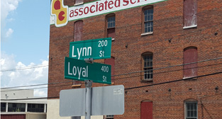 Street signs at intersection of Lynn and Loyal streets